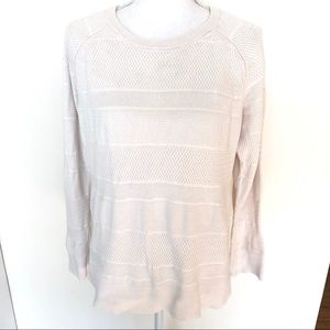Banana republic cream knit crew neck sweater L EUC